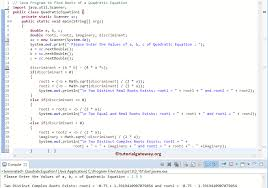 java program to find roots of a quadratic equation 1