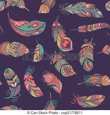Bohemian Pattern Simple Bohemian Style Feathers Seamless Pattern Bohemian Ethnic Style