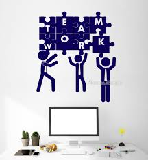 Us 723 32 Offmodern Art Diy Wall Decals Quotes Teamwork Puzzle Office Decoration Team Building Stickers Vinyl Removable Wallpapers New La442 In