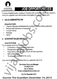 Sales Administrator Assistant Sales Manager Tayoa Employment Portal