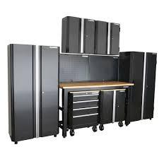 Home Depot Metal Cabinets Husky 98 In H X 145 In W X 24 In D Steel Garage Cabinet Set In