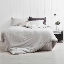 Quilt Cover Sets | Temple & Webster & Dove Grey Frayed Edge Linen-Blend Quilt Cover Set Adamdwight.com