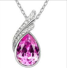 1pcs rose red crystal drop pendant necklace chain jewelry making charm pz23 2