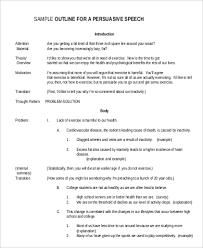 speech outline example samples in word pdf sample persuasive speech outline