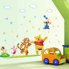 cartoon disney wall decal baby room wall decor happy winnie the pooh nursery wall