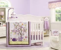 beautiful girl baby nursery room decoration with owl baby bedding cute purple girl baby nursery