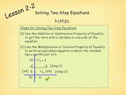 3 solving two step equations lesson 2 2