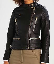 rihanna gold zipper black biker leather jacket for women