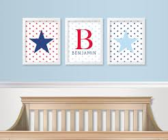 zoom on red and light blue wall art with red white and blue nursery decor military baby nursery