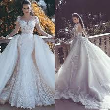 2019 Vintage Sheer Neck Dubai Mermaid Wedding Dresses With ...