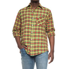 Patterned Button Up Shirts Awesome Patterned ButtonUp Shirt Long Sleeve For Men YellowGreenRed