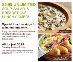 olive garden unlimited soup salad breadsticks lunch combo just 5 99 starting today