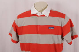 patagonia bright red beige striped short sleeve sender rugby shirt m s large 79