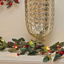 red berry pre lit garland for fireplace accessories
