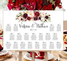 Seating Chart Wedding Wedding Seating Chart Poster Burgundy Red Blush Pink Marsala Romantic Blossoms