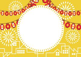 夏祭り ちょうちん 町並み 花火 黄色 フレーム イラスト 無料 無料