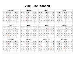 Calendar Year 2019 Printable Printable Calendar 2019 Simple Useful Printable Calendars