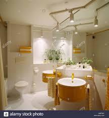 track lighting above circular basins on ed vanity unit in modern white bathroom