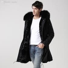 fall 2016 winter black men fur parka real rac fur parka with black faux fur lining parka long coat jacket jacket mens jean jacket with fur collar