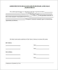 Addendum To Real Estate Purchase Sale Agreement Sales Template ...