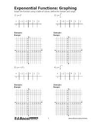 graphs of exponential functions worksheet