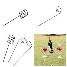 ipree 3pcs set outdoor camping wine glass bottle goblet rack holder iron support frame lawn picnic wine shelf cod
