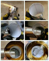 put tin cans together and place in rocket stove