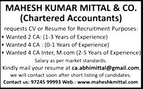 Job Chartered Accountant India Finance Accounting