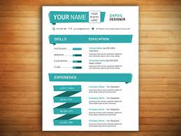 New One Page Resume Template The Cyan Resume Template New York