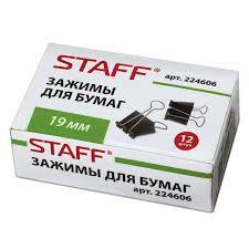 Купить <b>Зажимы для бумаг STAFF</b>, комплект 12 шт., 19 мм, на 60 ...