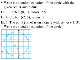 write the standard equation of the circle with the given center and radius