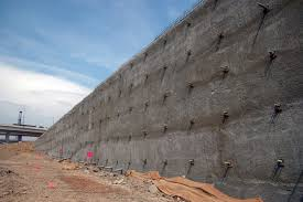 soil nail wall covering 3 600 square feet to provide earth retention for a new r for