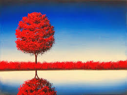 red tree painting landscape painting canvas art 12 x 16 original oil painting