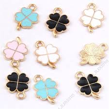 details about enamel charms lucky clover pendant jewelry making small pendants crafts 985y