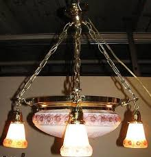 victorian style brass art glass chandelier center globe with 4 hanging shades