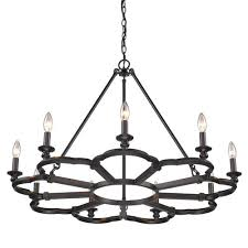 golden lighting saxon aged bronze nine light chandelier