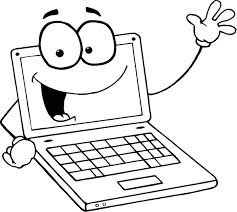 Coloring Page Of A Laptop Cartoon Character For Kids Coloring Point