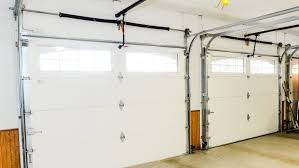 Interior side of two white garage doors