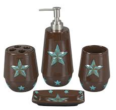 Western Bathroom Decor Our Bathroom Decor Sets Are Rustic Brown Ceramic With Turquoise