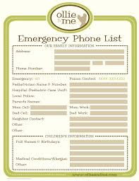 Family Contact List Template Emergency Phone List For Your Babysitter I Like For Jack