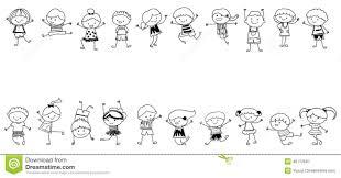 Groupe D Enfants Croquis De Dessin Illustration De Vecteur
