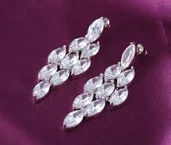 elegant long earrings for wedding party top quality aaa clear cz chandelier
