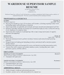 Sample Warehouse Management Resume Warehouse Supervisor Resume Sample Perfect Warehouse Manager Resume