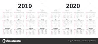 The Year Calendar 2019 2020 Calendar Vector Graphics Week Starts Sunday Design