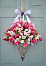 front door hangingsfront door decorations for spring  Spring TulipsWreath Front