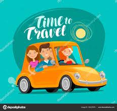 Reisekonzept Glückliche Freunde Fahren Retro Auto Auf Reise