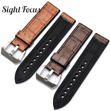 top leather bottom rubber watch band strap for watch belt men 20 22 24 26mm male bracelet accessorie for pam strap alligator watch bands debeer watch bands