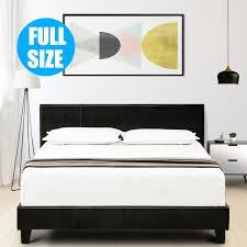 Details about Full Size Faux Leather Platform Bed Frame & Slats Upholstered Headboard Bedroom