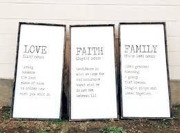 Timber And Gray Design Co Love Faith Family Set Of Three Rustic Style Wood