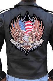 large american flag eagle proud and free embroidered biker patch free ship